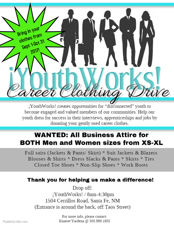¡YouthWorks! sponsors a career clothing during drive the month of September.